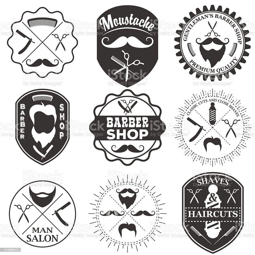 set of vintage barber shop logo templates stock vector art more images of 2015 474590572 istock. Black Bedroom Furniture Sets. Home Design Ideas
