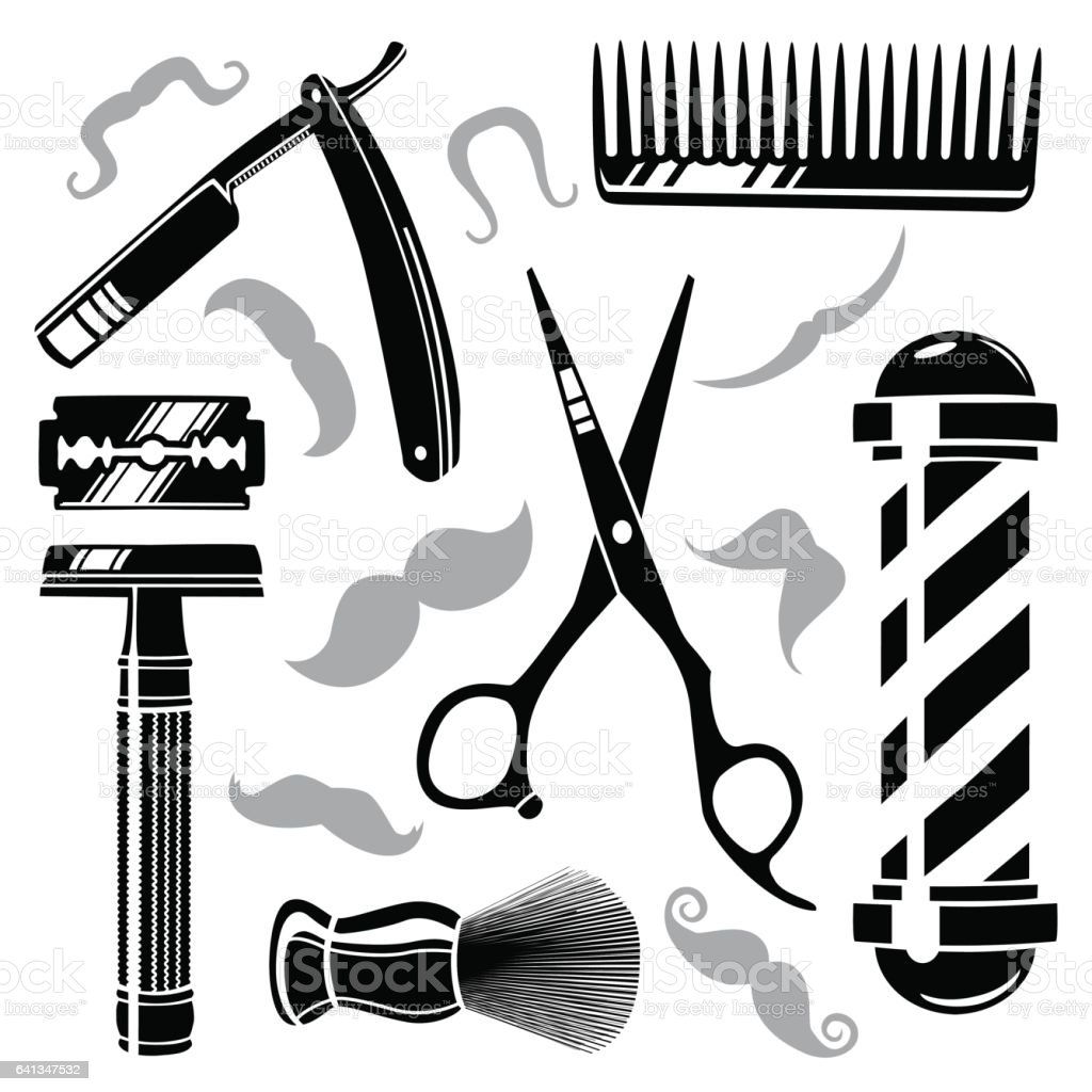 Popular Set Of Vintage Barber Shop Tools Stock Vector Art & More Images of  LJ12