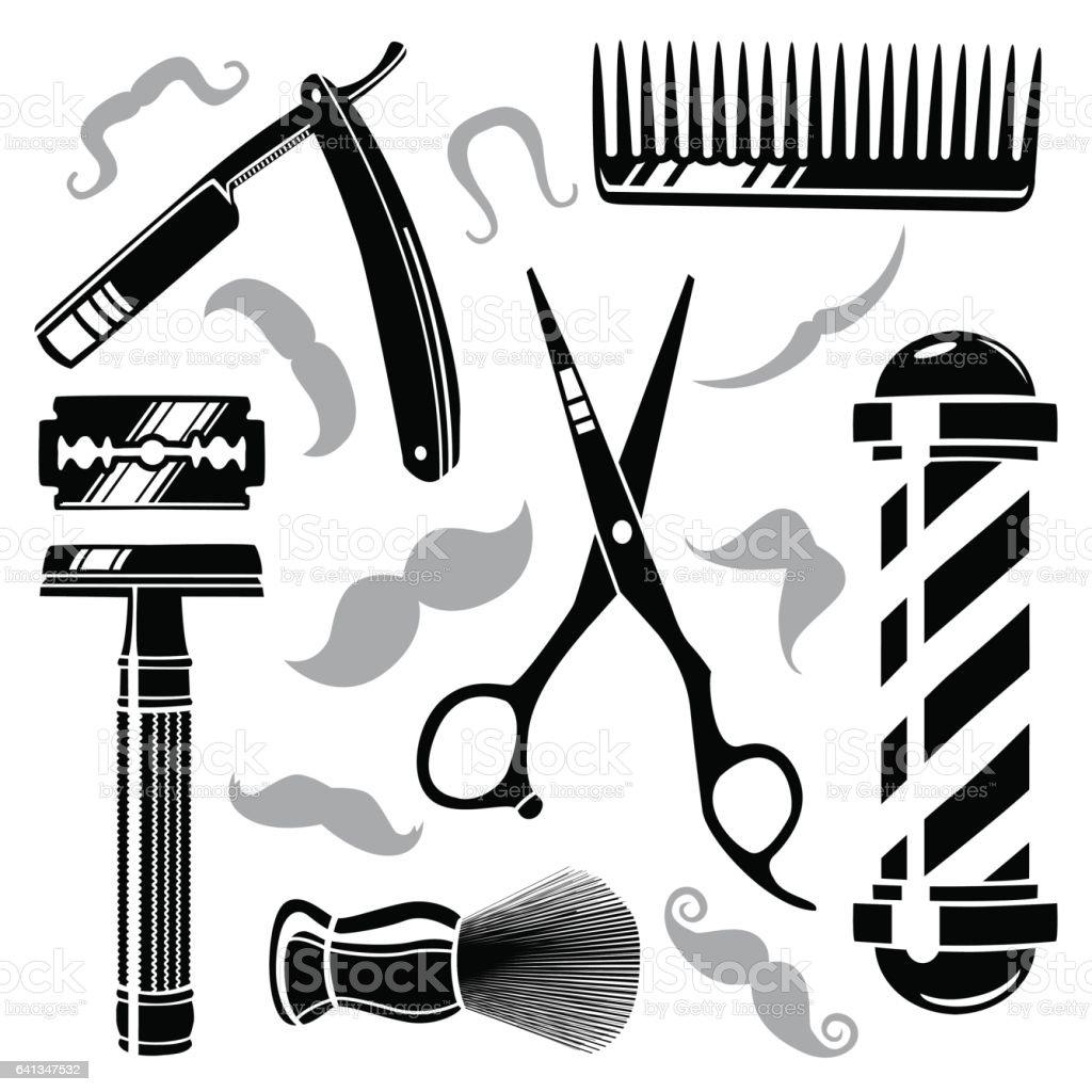 Set of vintage barber shop tools vector art illustration