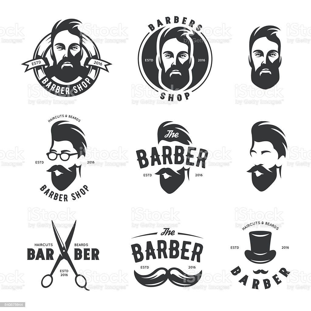 Conjunto de vector de retro tienda de peluquero emblems, etiquetas, señales y - ilustración de arte vectorial