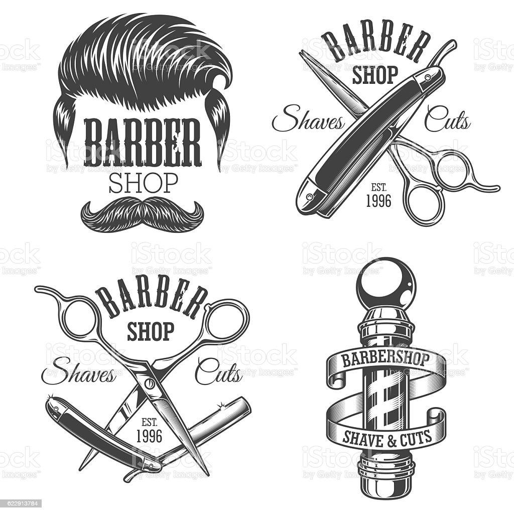 Set of vintage barbershop emblems vector art illustration