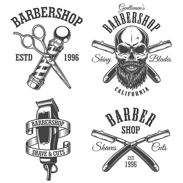Set of vintage barbershop emblems - ilustración de arte vectorial