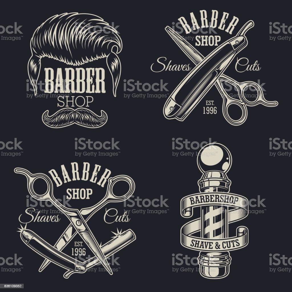 Conjunto de emblemas peluquería vintage - ilustración de arte vectorial