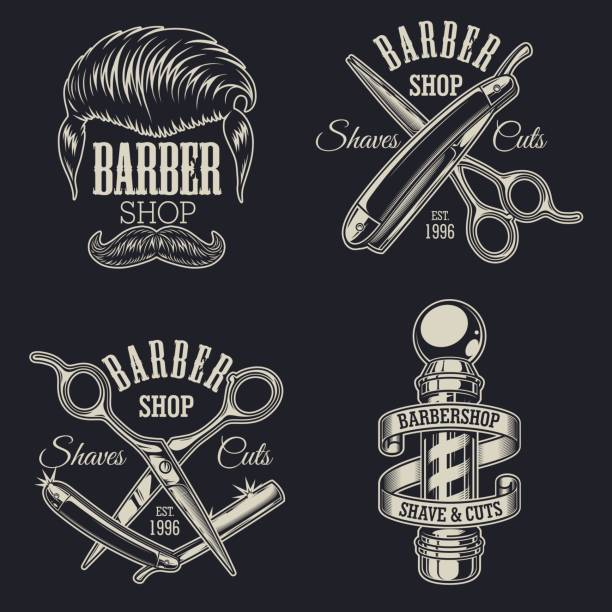 Set of vintage barbershop emblems vector art illustration