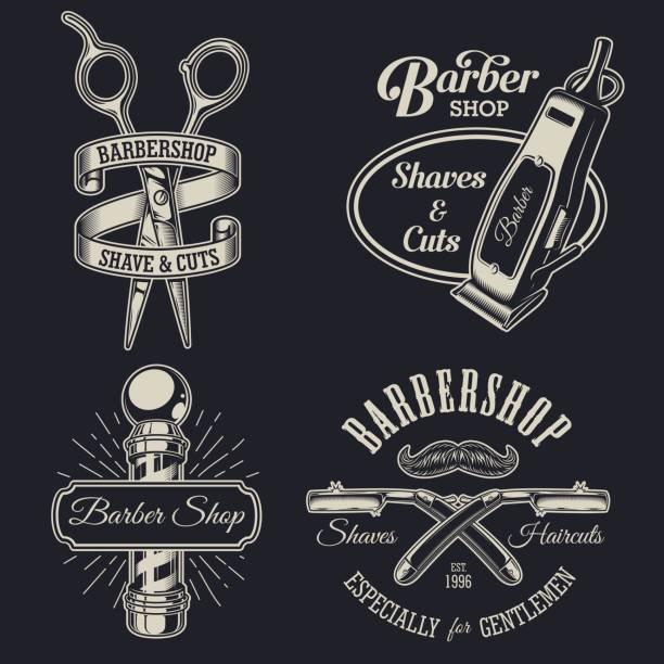 22 Barbershop Badges Label Vintage T Shirt Design Hipster Illustrations Royalty Free Vector Graphics Clip Art Istock