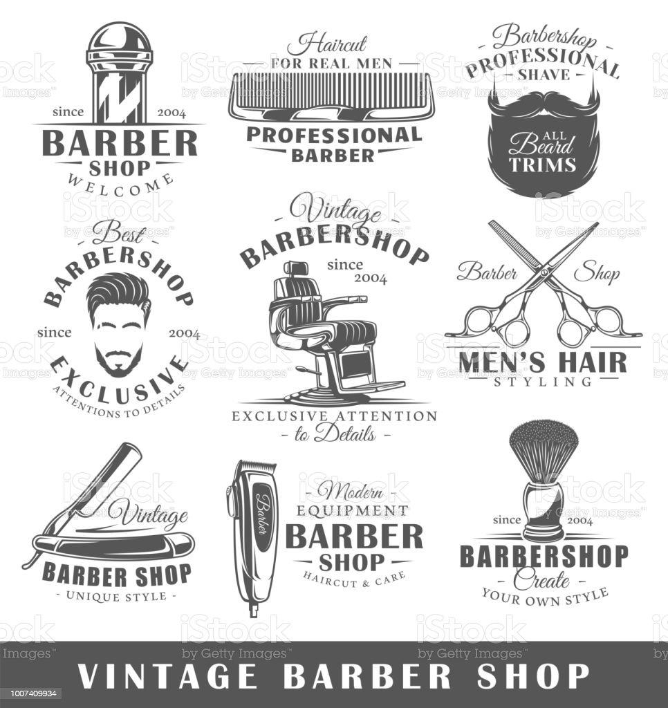 Set of vintage barbershop labels vector art illustration