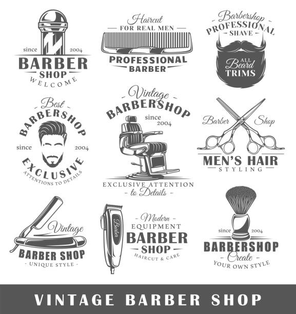 Set of vintage barbershop labels vector art illustration