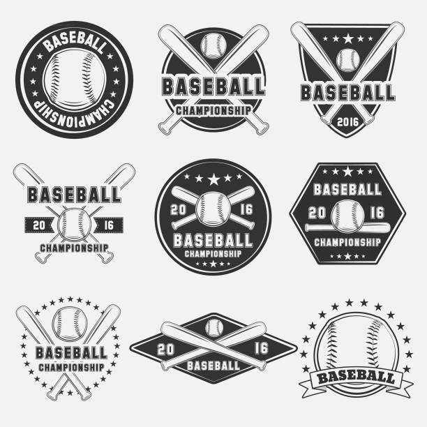 Set Of Vintage Baseball Icon Vector Art Illustration