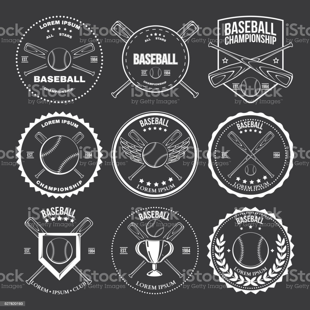 Set of vintage baseball labels and badges vector art illustration