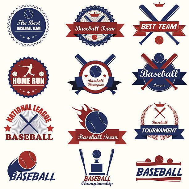 Satz von vintage baseball-Etiketten und Abzeichen.  Vektor-Illustration eps10 – Vektorgrafik