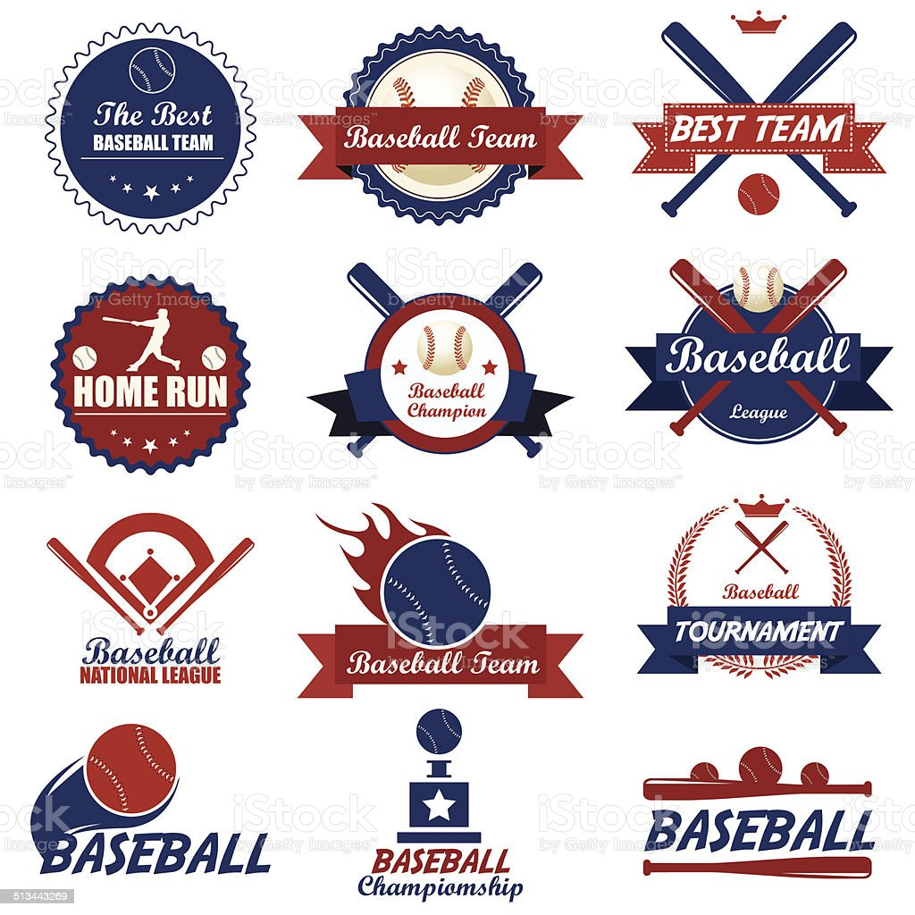 Satz von vintage baseball-Etiketten und Abzeichen.  Vektor Illustratione – Vektorgrafik