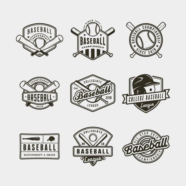 ilustraciones, imágenes clip art, dibujos animados e iconos de stock de conjunto de logotipos de béisbol vintage. ilustración vectorial - béisbol