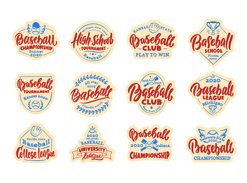 Set of vintage Baseball stickers, patches. Baseball club, school, league badges, templates