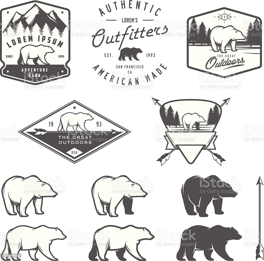 Set of vintage bear icons, emblems and labels vector art illustration