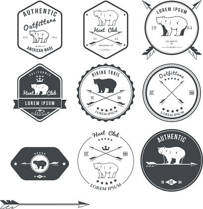 Set of vintage bear icons, emblems and labels. Vector illustration