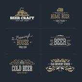 Set of vintage beer badge and logo. Vector illustration