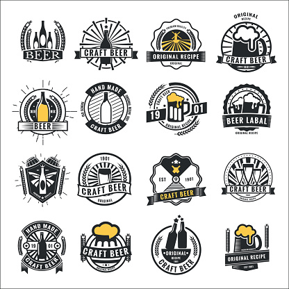 Set of vintage beer badge icon,  and labels template design.Vector illustration.
