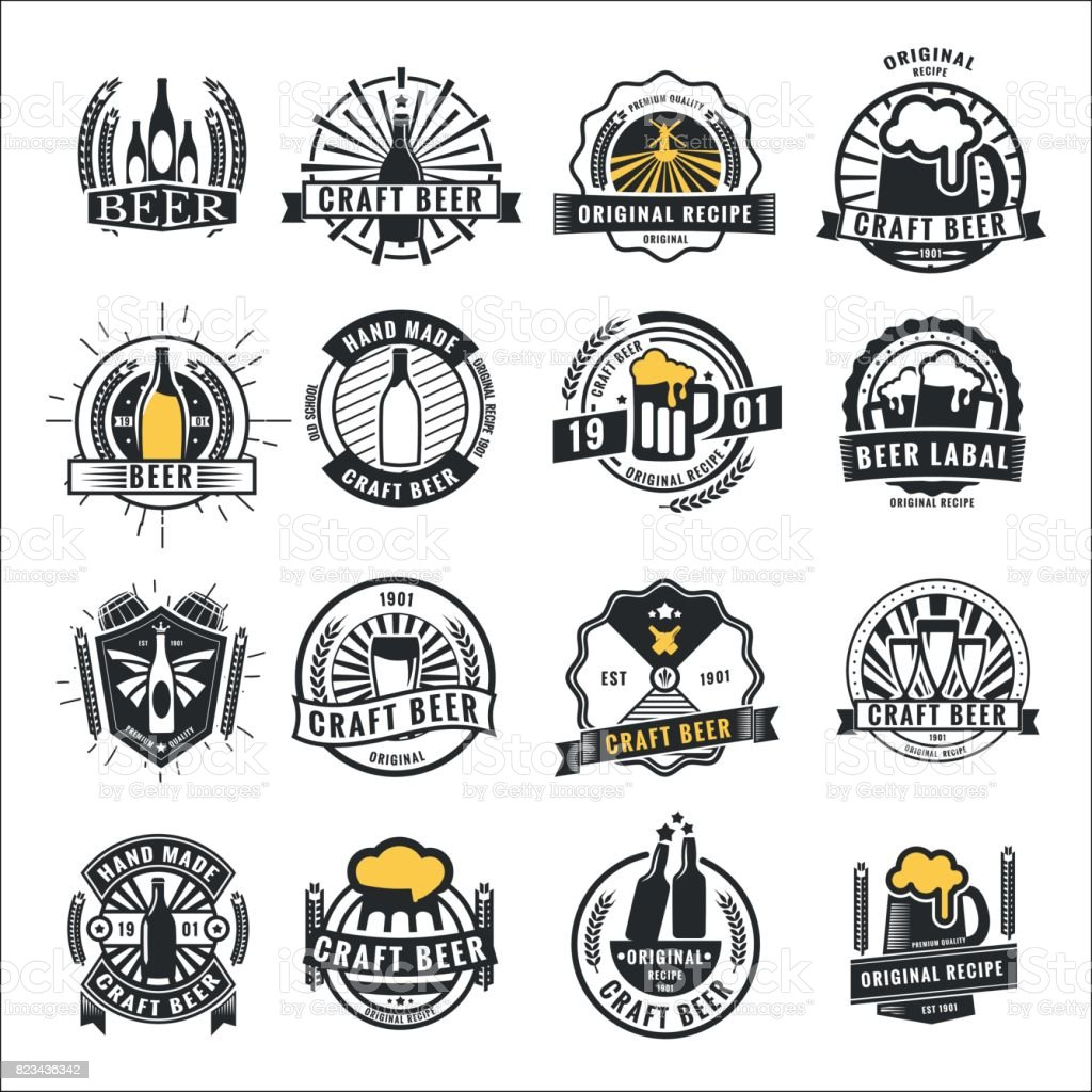 Set of vintage beer badge icon,  and labels template design.Vector illustration. - illustrazione arte vettoriale