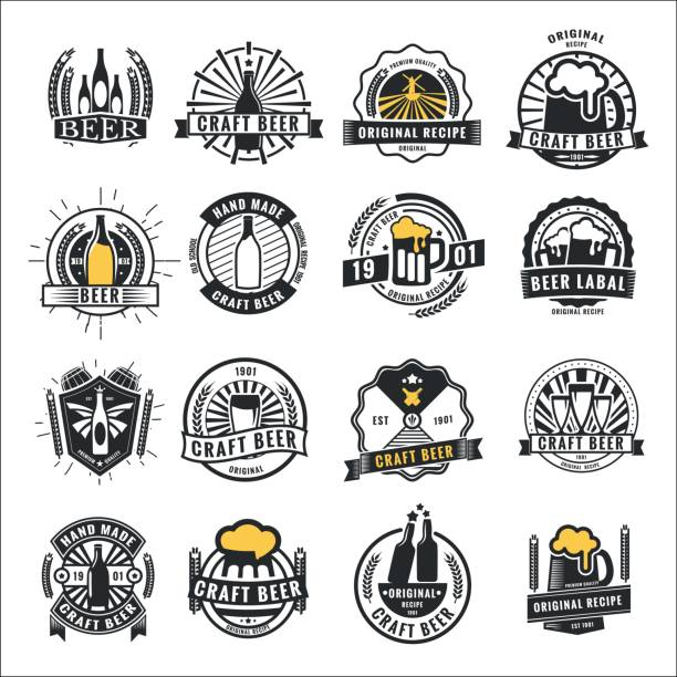 Set of vintage beer badge icon,  and labels template design.Vector illustration. vector art illustration