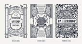 Set of Vintage beer frames and labels. Craft premium logos. Design emblems on background. Vector stickers for drinks bottles and cans. Template beer label. Advertising calligraphic sticker