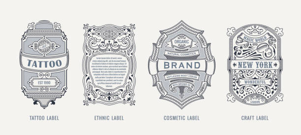Set of Vintage beer frames and labels. Craft premium logos. Design emblems on transparent background Set of Vintage beer frames and labels. Craft premium logos. Design emblems on background. Vector stickers for drinks bottles and cans. Template beer label. Advertising calligraphic sticker adventure borders stock illustrations