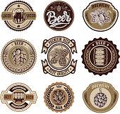 Set of vintage beer labels. Design elements for label, emblem, sign, menu. Vector illustration