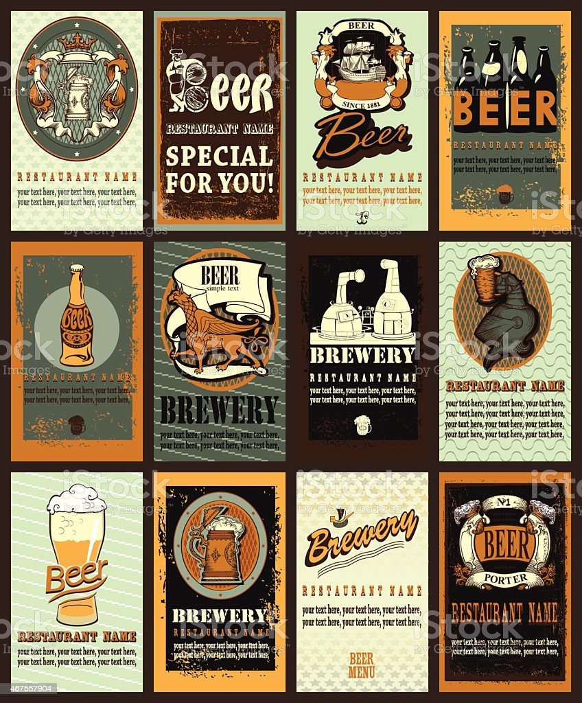 Set of vintage beer labels design. vector art illustration