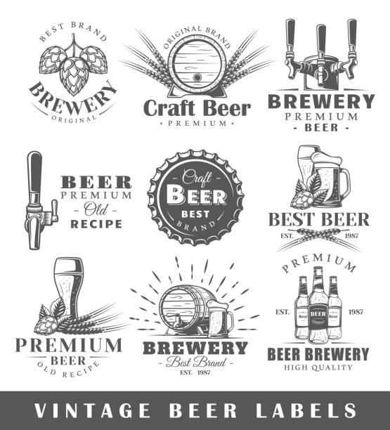 Satz von Vintage Bieretiketten – Vektorgrafik