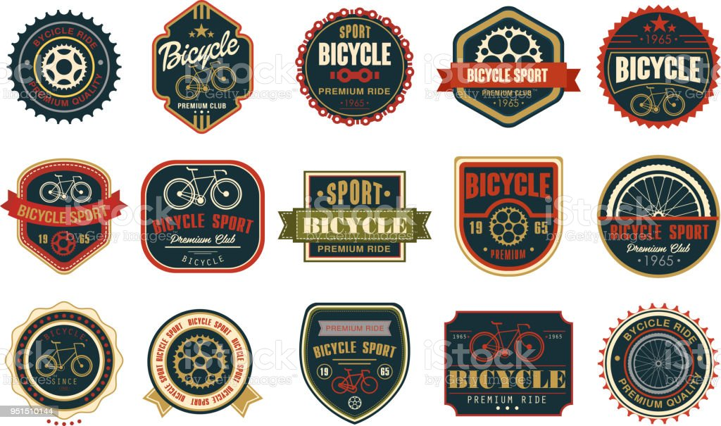 Satz von Vintage Fahrrad Logos. Extreme Radsport. Stilvolle typografische Gestaltung für Bike Club, bike-Shop oder Reparatur-Service. Ursprünglichen Vektor-Embleme – Vektorgrafik
