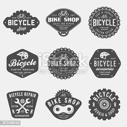 istock set of vintage bicycle shop and repair badges and labels 872409134