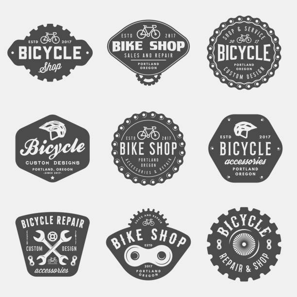 set of vintage bicycle shop and repair badges and labels set of vintage bicycle shop and repair badges and labels. bike sales and service. vector illustration bicycle chain stock illustrations