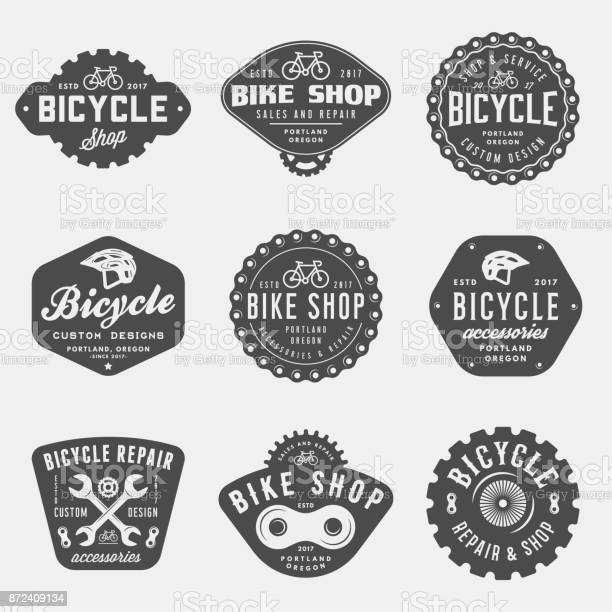 Set Of Vintage Bicycle Shop And Repair Badges And Labels - Arte vetorial de stock e mais imagens de Acessório