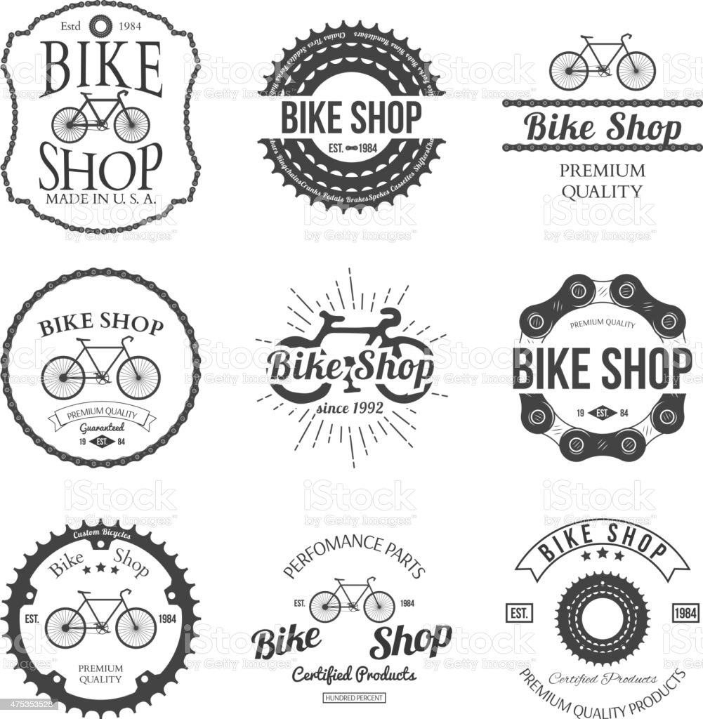 Set of vintage bicycle shop logo badges and labels vector art illustration