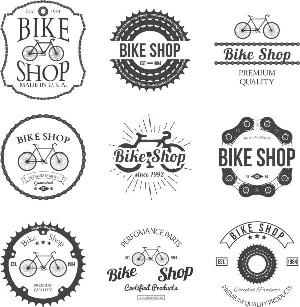 Set of vintage bicycle shop logo badges and labels Set of vintage and modern bicycle shop logo badges and labels vector illustration bicycle chain stock illustrations