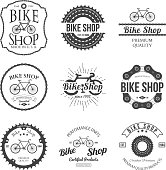 Set of vintage bicycle shop logo badges and labels