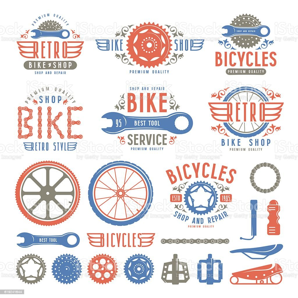 Set of vintage bike shop badges and labels vector art illustration
