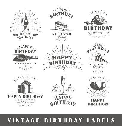 Set of vintage birthday labels