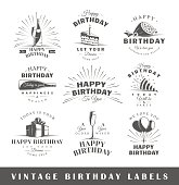 Set of vintage birthday labels