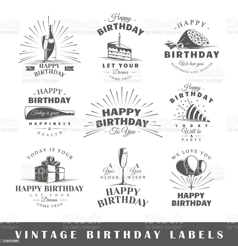 Set of vintage birthday labels vector art illustration