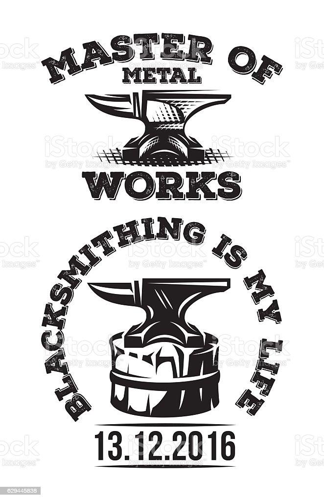 Set of vintage blacksmith label with anvil. Vector illustration. vector art illustration