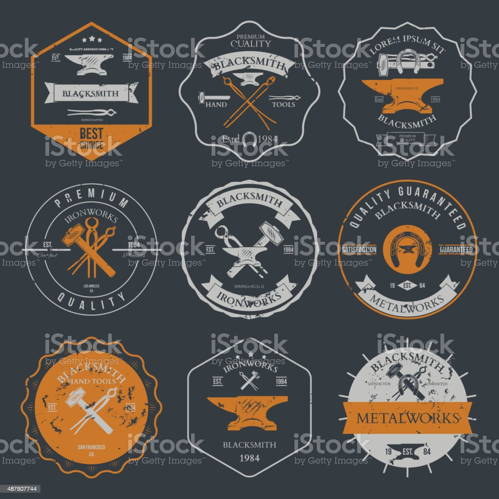 Set of vintage blacksmith labels and design elements vector vector art illustration