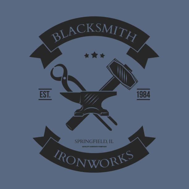 Set of vintage blacksmith labels and design elements vector vector art illustration