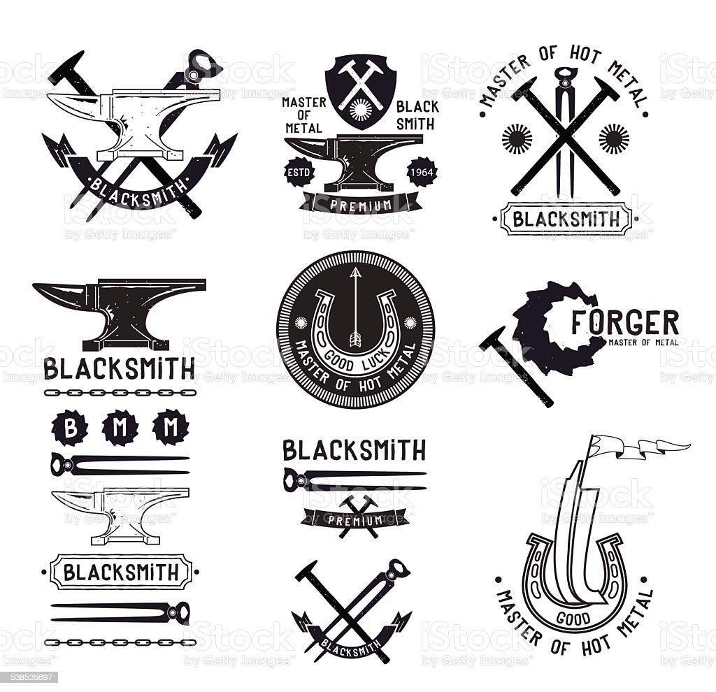 Set of vintage blacksmith logo, labels and design elements vector art illustration