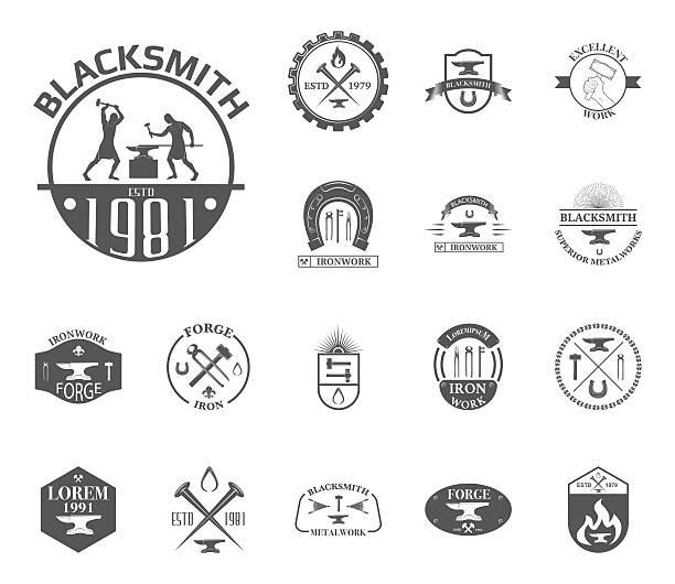 satz von vintage schmied - metallverarbeitung stock-grafiken, -clipart, -cartoons und -symbole