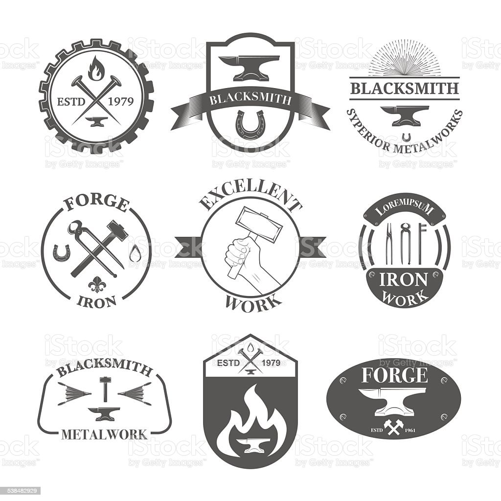 Set of vintage blacksmith vector art illustration