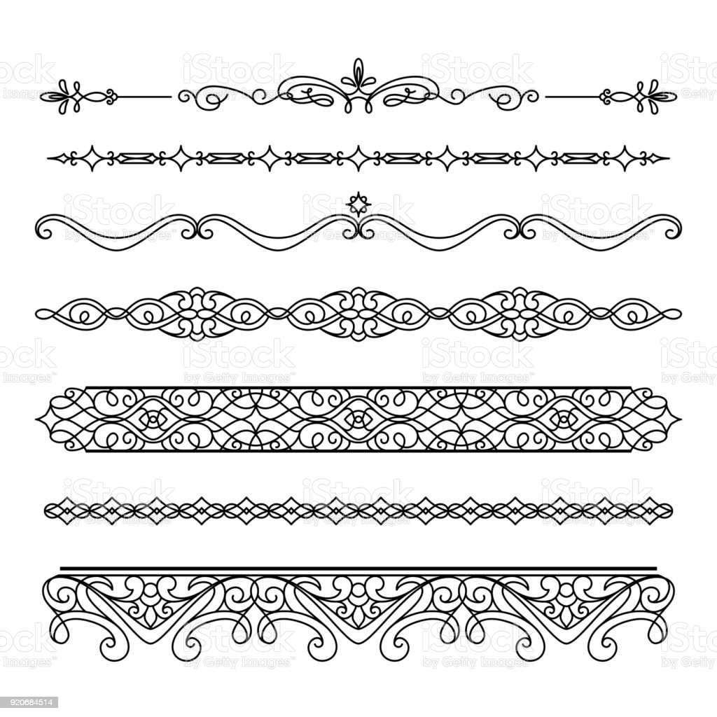 set of vintage borders and flourishes stock vector art more images