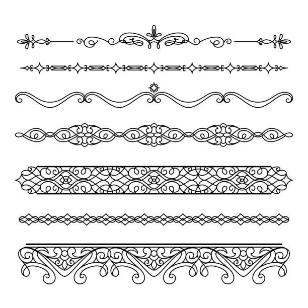 set of vintage borders and flourishes - scallop stock illustrations, clip art, cartoons, & icons