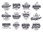 Set of vintage Burger emblems and stamps. Fast food badges, stickers on white background isolated. Collection of retro symbols with hand-drawn text, phrases. Vector illustration