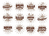 Set of vintage Burger emblems and stamps. Fast food badges, stickers on white background with rays. Collection of retro logos with hand-drawn text, phrases. Vector illustration