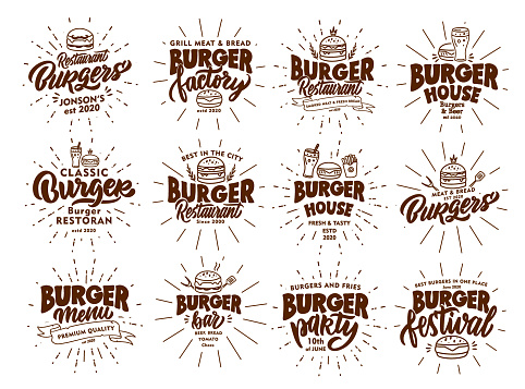Set of vintage Burger emblems and stamps. Fast food badges, stickers on white background with rays.